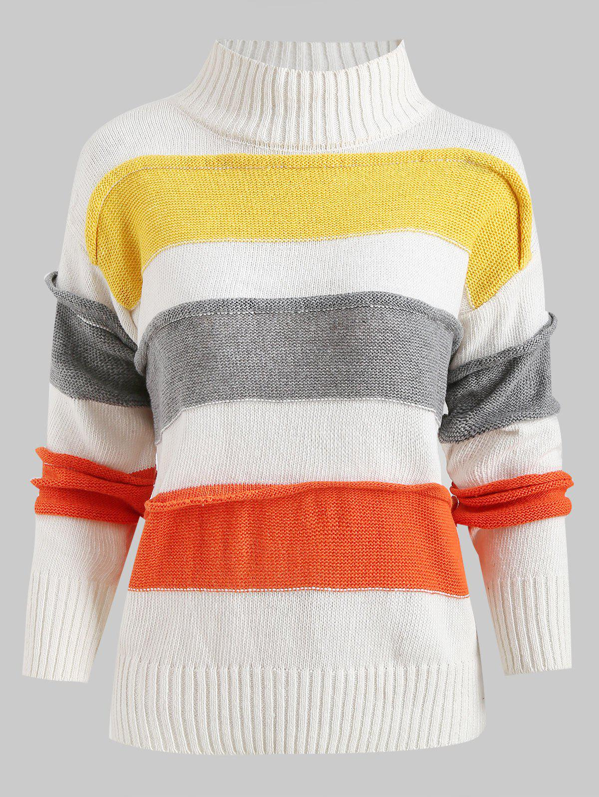 Color Block Mock Neck Pullover Sweater, Cool white