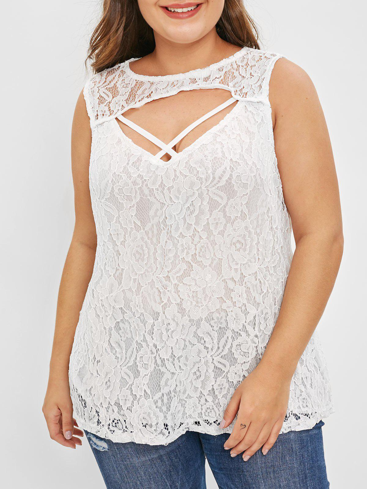 Latest Plus Size Cut Out Cross Lace Tank Top