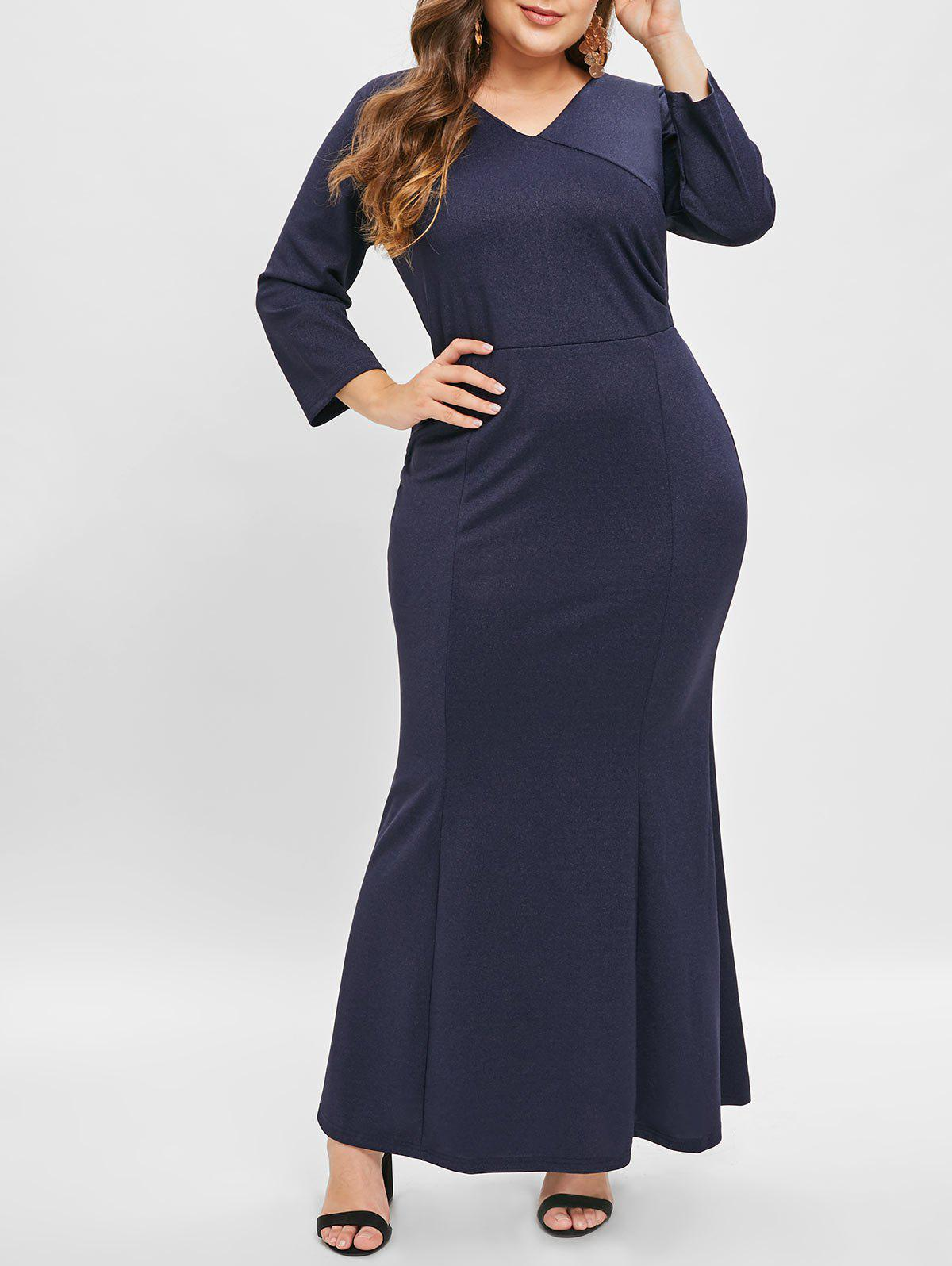 New V Neck Plus Size Fitted Maxi Dress