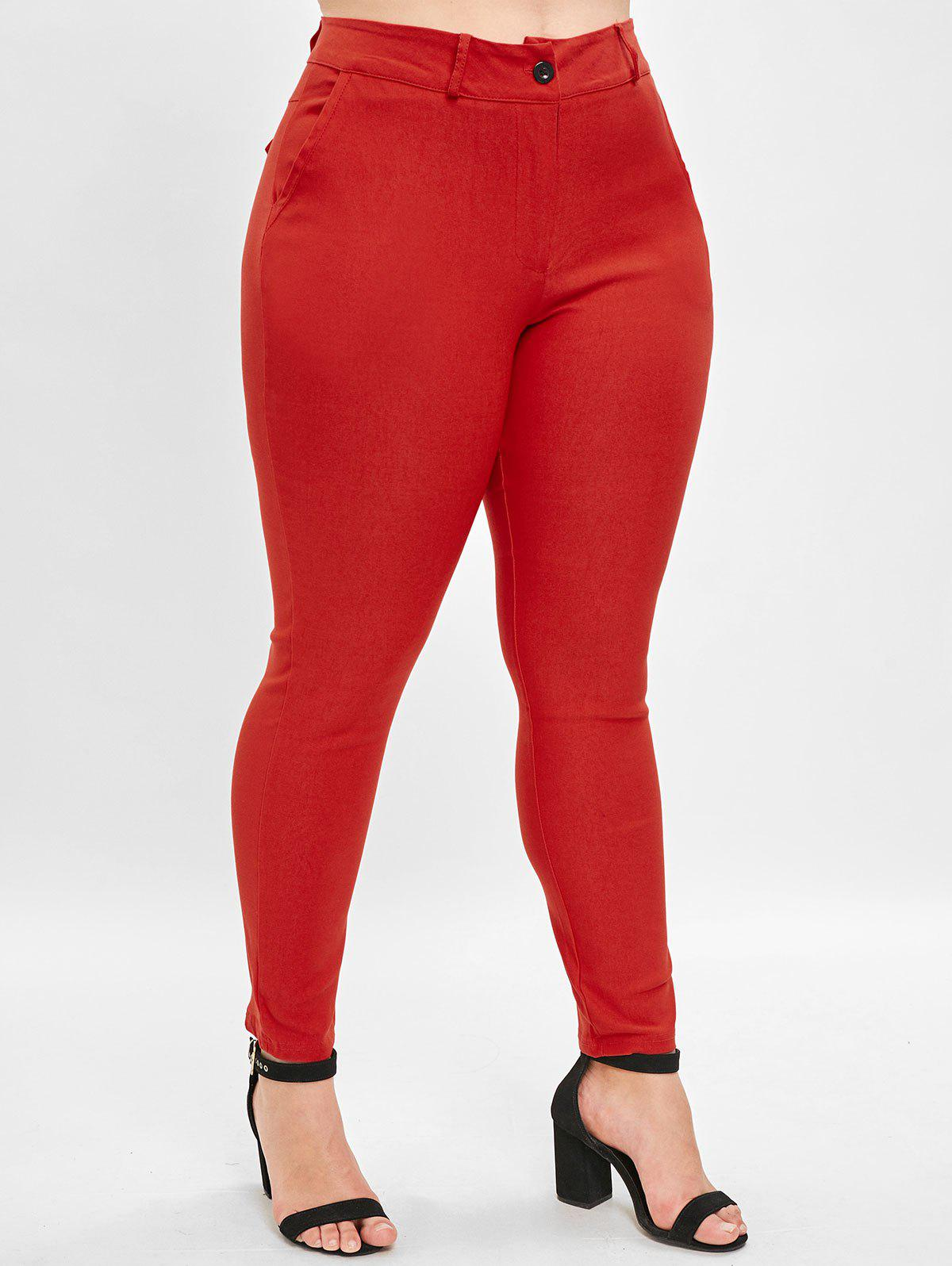 Trendy Plus Size High Waist Straight Pants