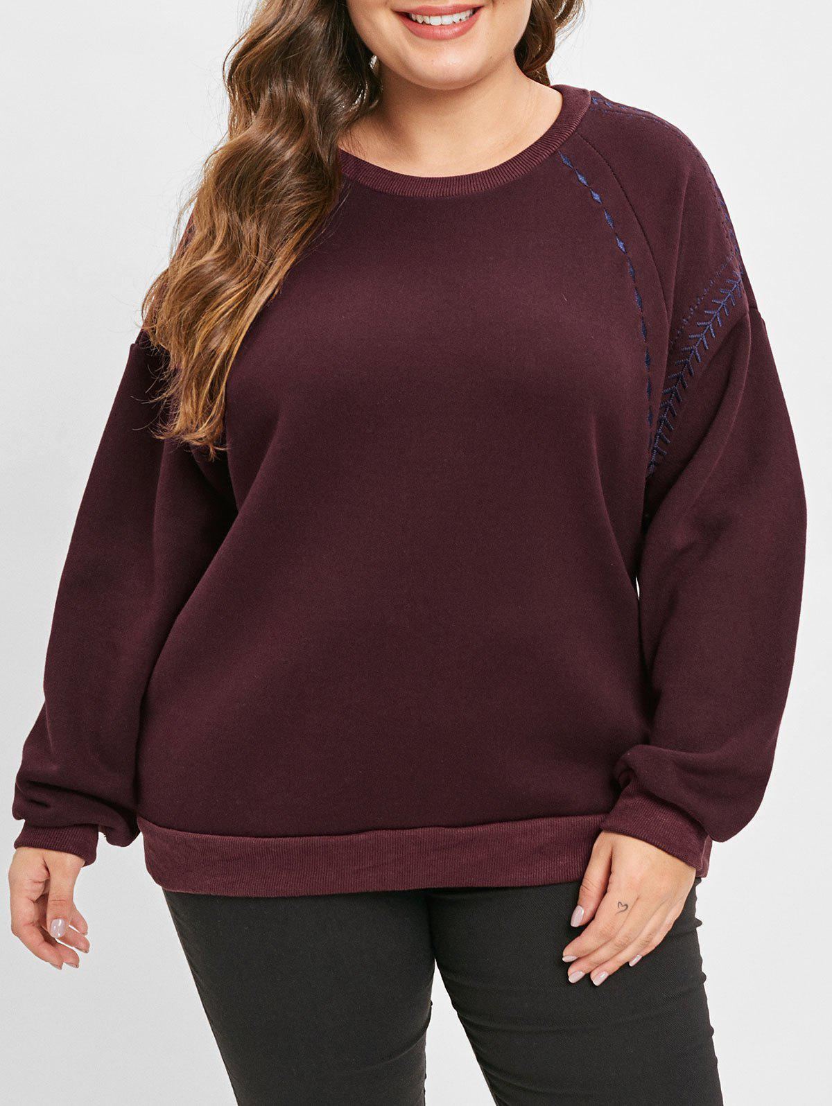 Unique Plus Size Pullover Fleece Sweatshirt with Embroidered