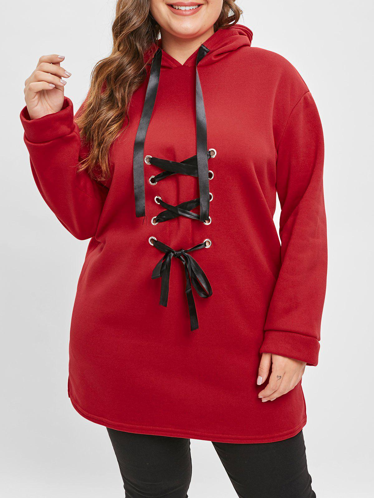 da63d47fff 2019 Plus Size Ribbon Lacing Front Hoodie | Rosegal.com