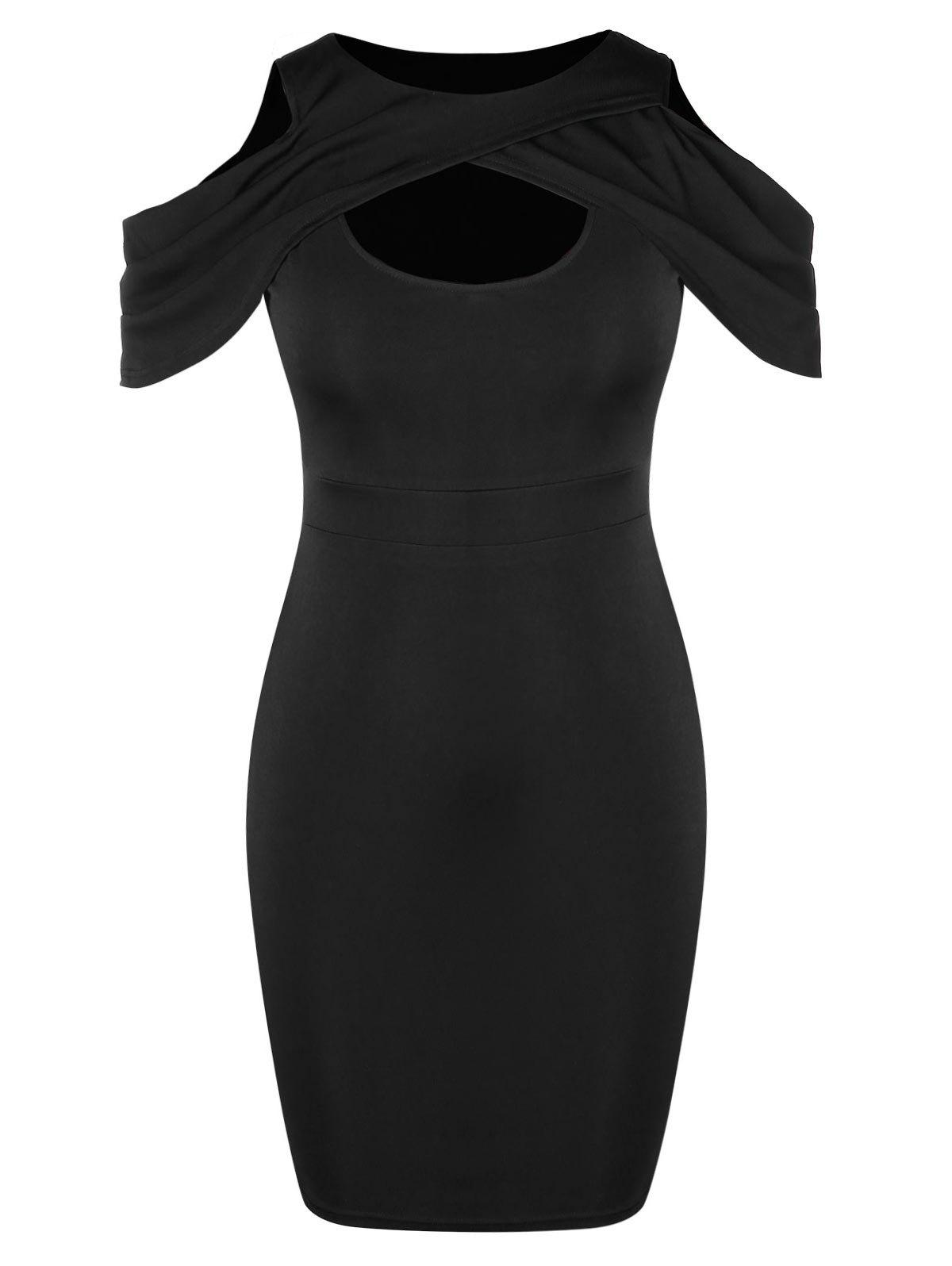Trendy Plus Size Cold Shoulder Cut Out Bodycon Dress