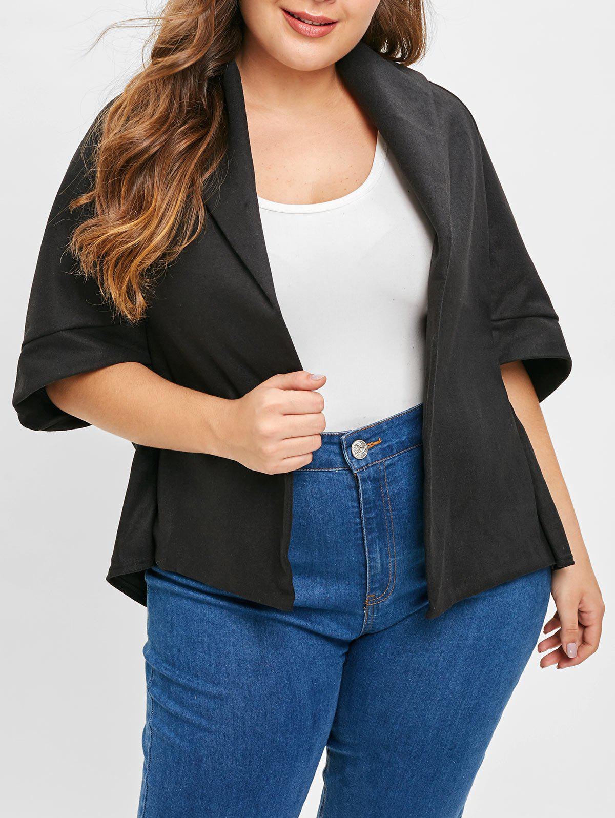 Cheap Plus Size Asymmetric Open Front Coat