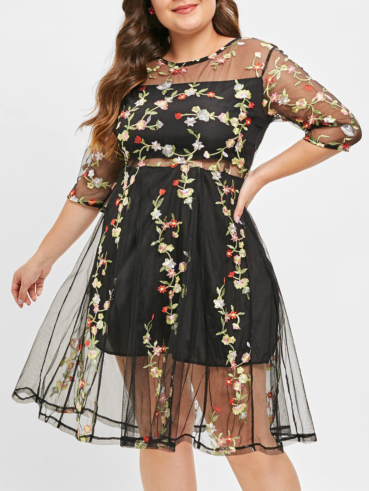 Fancy Plus Size Mesh Embroidered Sheer Flare Dress