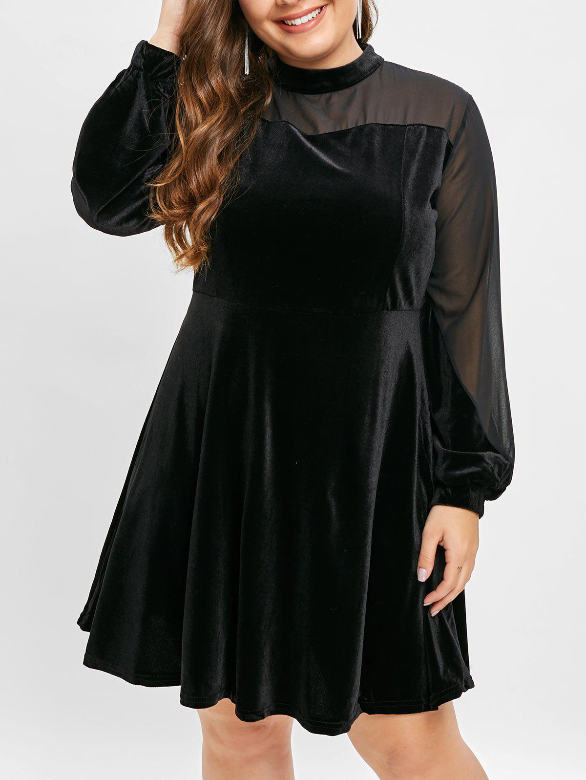 Outfit Plus Size High Waisted Velvet Dress with Mesh