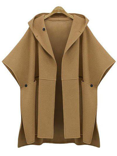 Affordable Plus Size Side Slit Hooded Coat