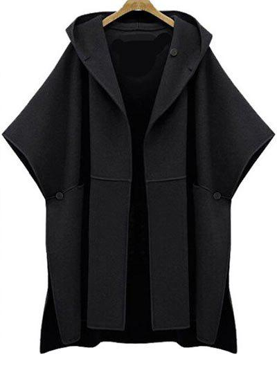 Sale Plus Size Side Slit Hooded Coat