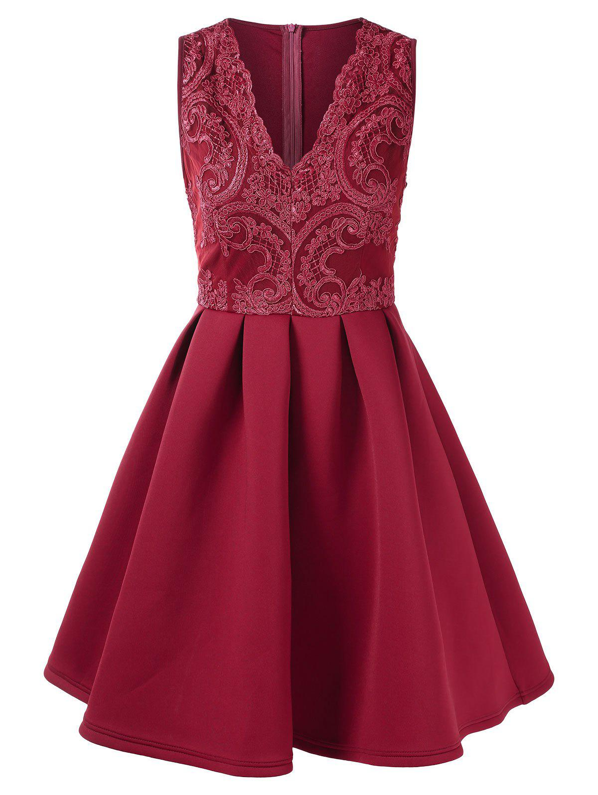 Store Lace Panel V Neck Fit and Flare Dress