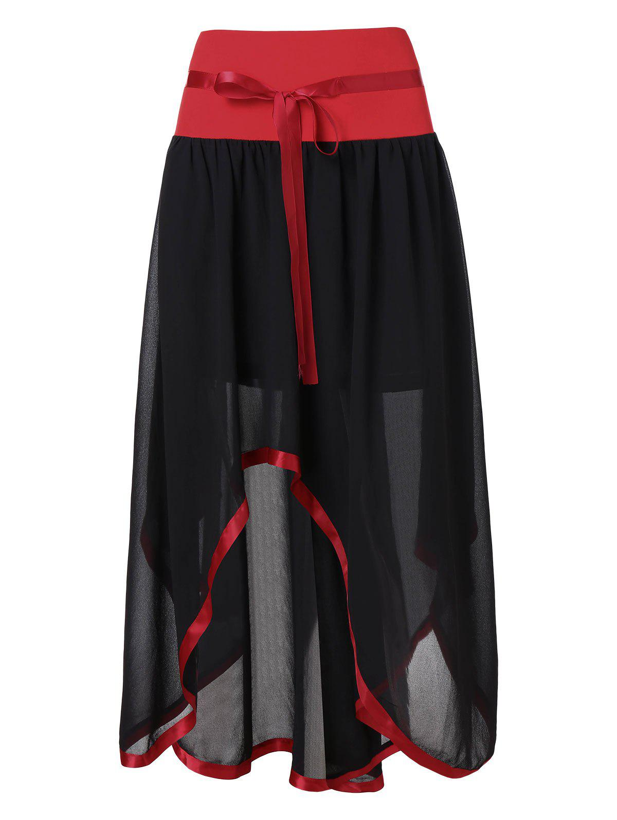 0d621c057c5fa 60% OFF   2019 Plus Size High Waist Midi Overlay Skirt