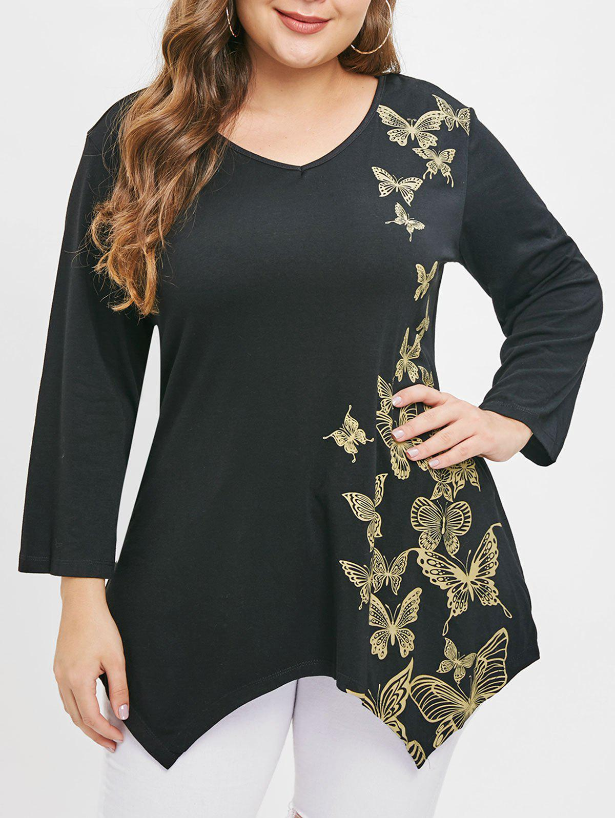 Outfits V Neck Butterfly Print Plus Size T-shirt