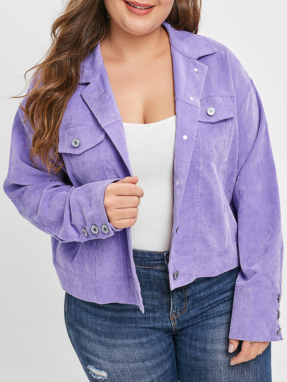 Best Plus Size Corduroy Pocket Shirt Jacket