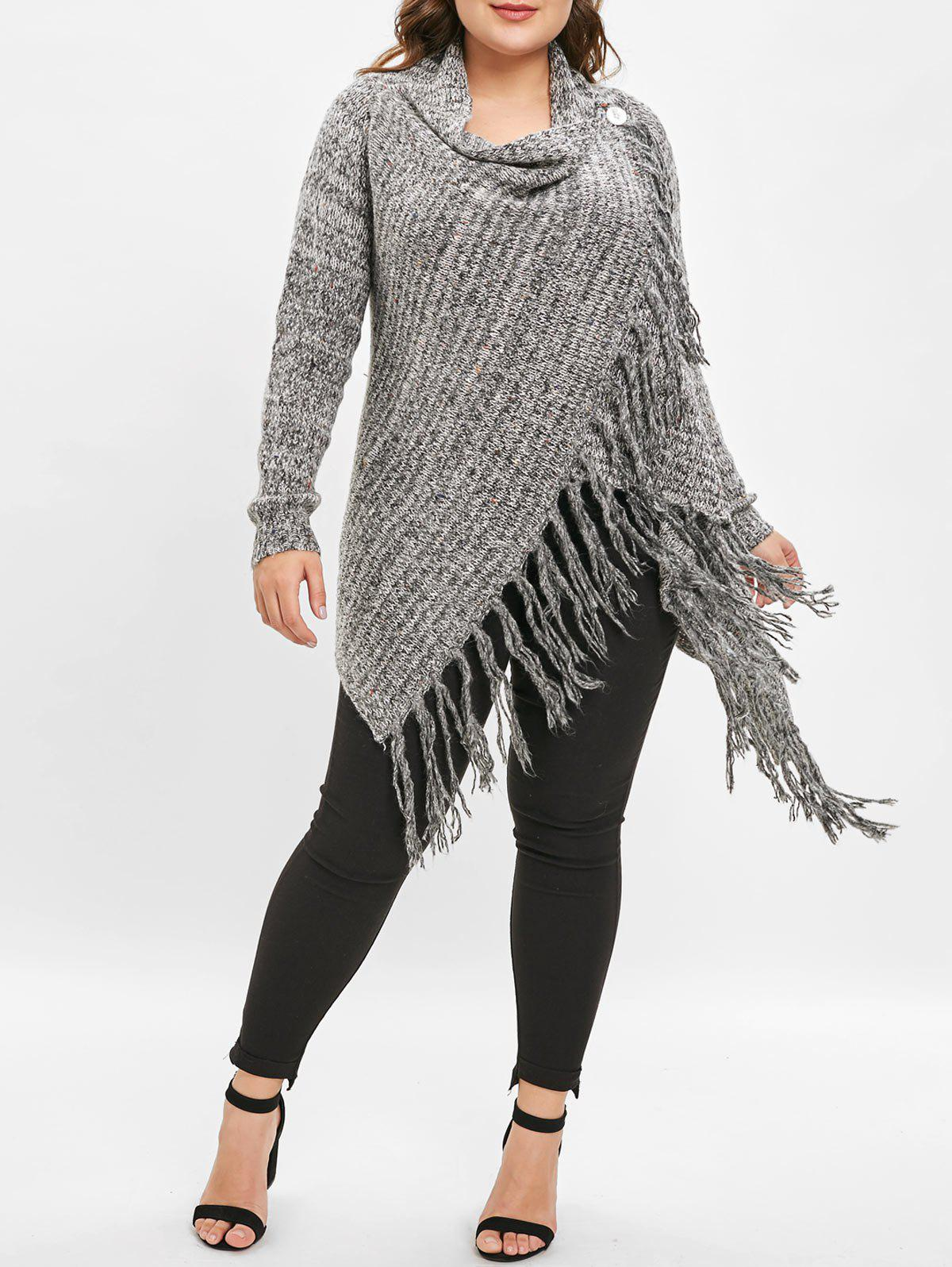 New Plus Size Longline Sweater with Tassel