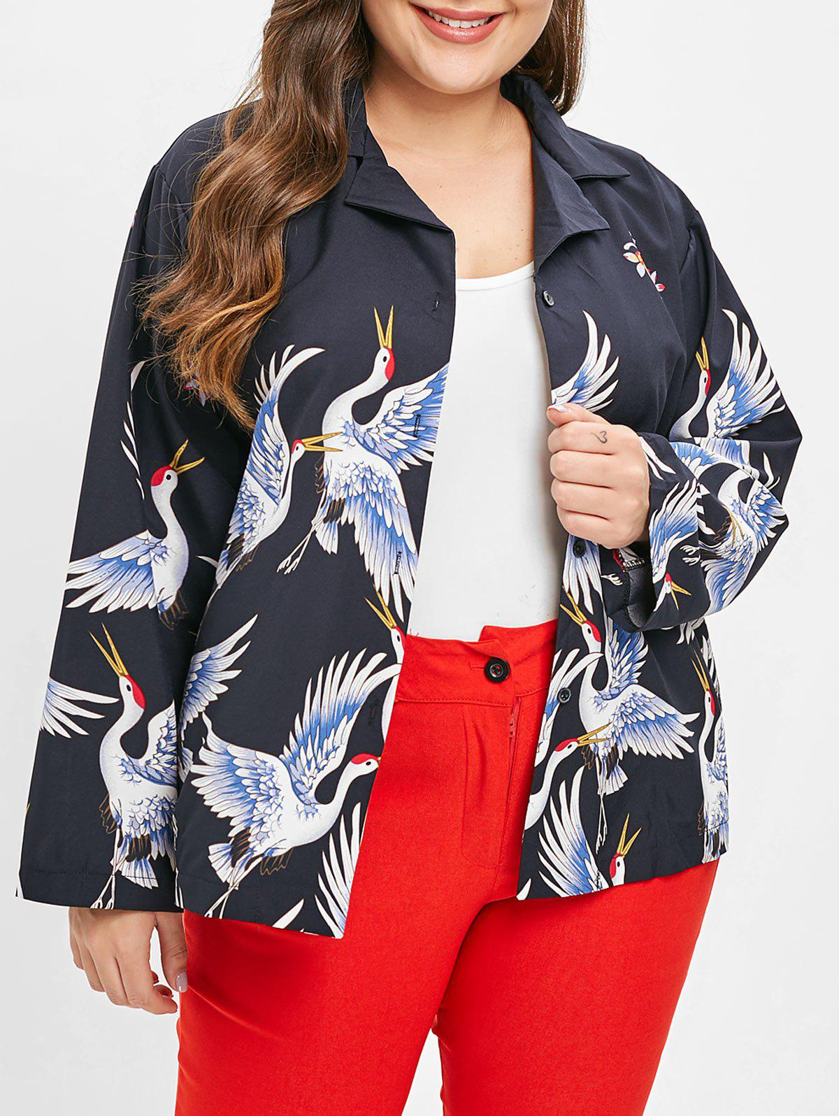 Outfits Plus Size Drop Shoulder Graphic Jacket