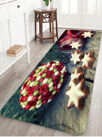 Christmas Flower Ball Star Printed Flannel Floor Mat - BURLYWOOD - W16 X L47 INCH