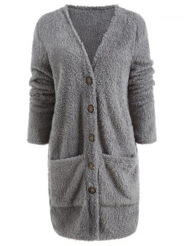 Faux Fur Button Up Long Coat