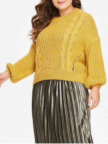 Plus Size Cable Knit Sweater - YELLOW - ONE SIZE