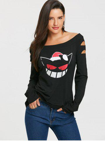 Christmas Hat Print Cut Out Sleeve Top