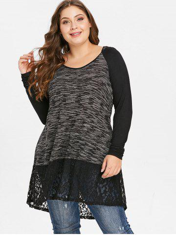 Plus Size Lace Insert Hooded T-shirt
