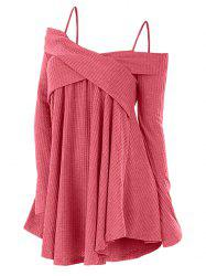 Open Shoulder Crisscross Tunic Sweater -