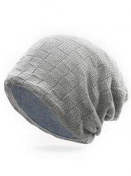 Winter Plaid Crochet Slouchy Beanie -