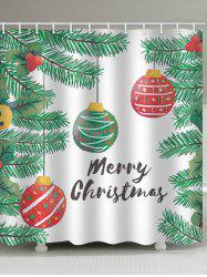 Christmas Tree Balls Print Waterproof Bathroom Shower Curtain -