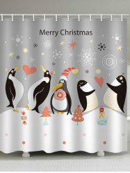 Christmas Penguin Print Waterproof Bathroom Shower Curtain -