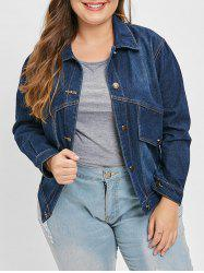 Plus Size Button Up Denim Jacket -