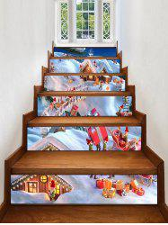 Christmas Santa Village Pattern Removable Stair Stickers -