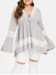 Plus Size V Neck Lace Up Asymmetric Lace Spliced Long Sleeves Tee -