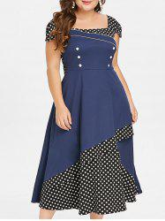 Plus Size Polka Dot Color Block Square Neck Vintage Dress -