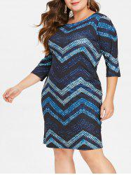 Chevron Print Plus Size Bodycon Dress -