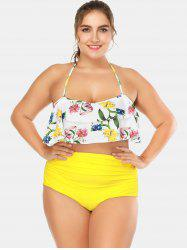 Fruits Print Plus Size Halter Neck Tankini Set -