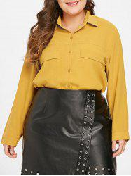 Front Pockets Plus Size Shirt -