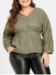 Button Detail Plus Size V Neck Shirt -