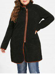 Plus Size Zip Fly Faux Fur Coat -
