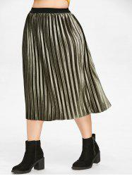 High Waist Plus Size Pleated Velvet Skirt -