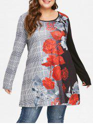 Plaid and Floral Print Plus Size T-shirt -