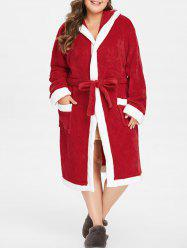Plus Size Christmas Hooded Robe with Belt -