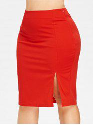 Front Slit Plus Size Bodycon Skirt -