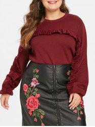 Plus Size Round Neck Ruffle Trim Sweatshirt -