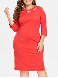 Front Cut Out Plus Size Knee Length Dress -