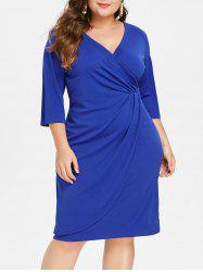 Surplice Neck Plus Size Ruched Knee Length Dress -