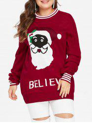 Christmas Plus Size Santa Claus Graphic Sweater -