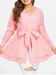 Plus Size Bowknot Gingham Blouse -