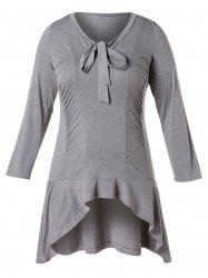 Plus Size Bow Tie Flounced High Low Tunic T-shirt -