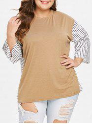 Plus Size Round Neck Striped Panel T-shirt -