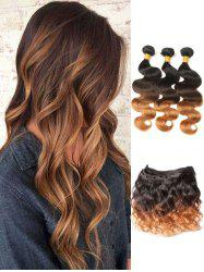 3Pcs Indian Virgin Ombre Body Wave Human Hair Weaves with Closure -