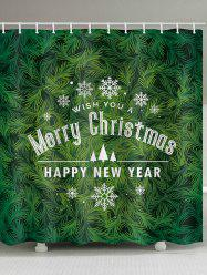 Christmas Tree Greeting Print Waterproof Bathroom Shower Curtain -