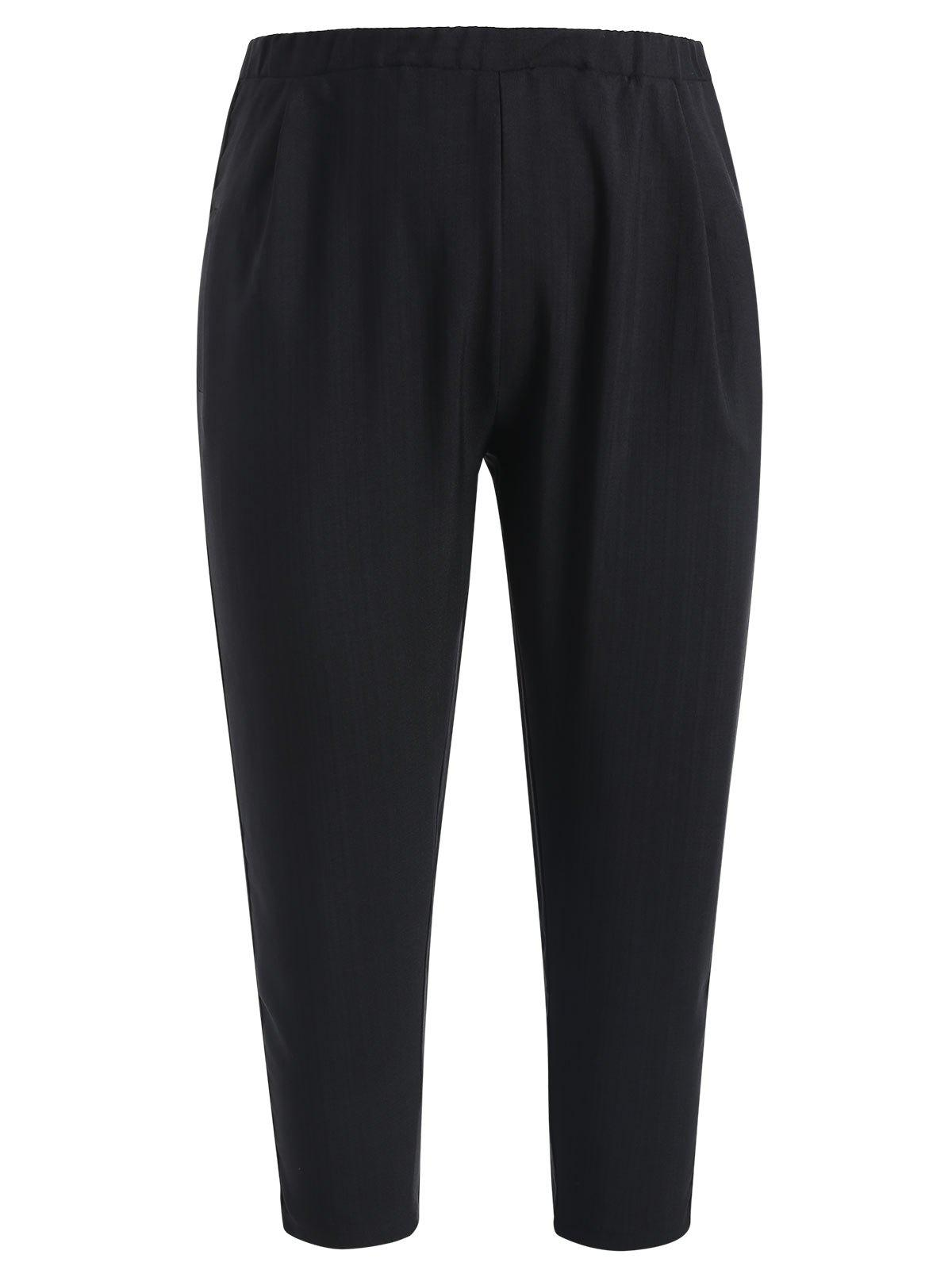 Chic Plus Size High Waisted Pants with Ribbons